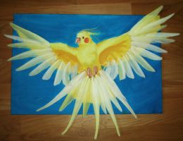 Acrylic and Feather Cockatiel by starbuxx