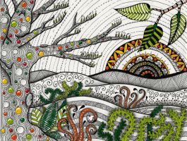 Zentangle Landscape by LeaSikora
