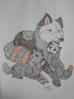 Moonclaw and her Pups by WhiteSpiritIge