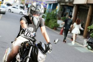 Riding a R2 motorcycle by Robert00795