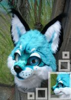 Teal caracal cat by LilleahWest