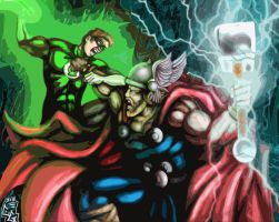 Thor vs. The Green Lantern by AtL-eAsTwOoD