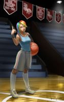 Human High School Ponies: Basketball Rainbow Dash by ponyrake