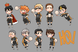 Haikyuu!! Karasuno Chibs by AceOfZeon