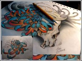 skull Chrysanthemum by Elltat2arts