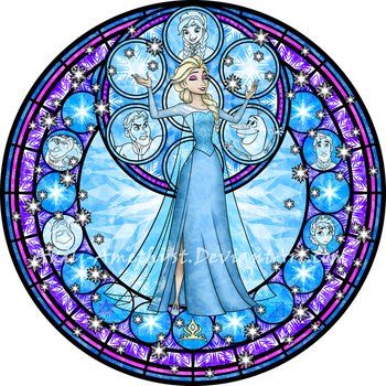 Stained Glass: Elsa -Vector- by Akili-Amethyst