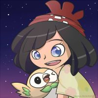Moon and Rowlet by caoroux