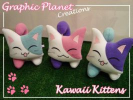 Kawaii Kittens Colorful Plushies by GraphicPlanetDesigns