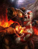 Kratos v Helios by IzzyMedrano