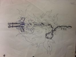snake sword keyblade and 2x ray guns by Jallhalled
