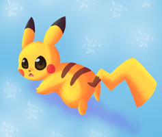 pikachu's running by DarkMatterXD