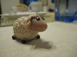 Polymer Clay Sheep by aquietfrog