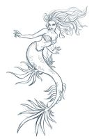 Mermaid sketch by iara-art