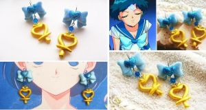Handmade sailor Mercury Inspired Magical Earrings by mayumi-loves-sora