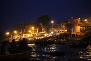 Night Fall on Ganges River by RebexTrip