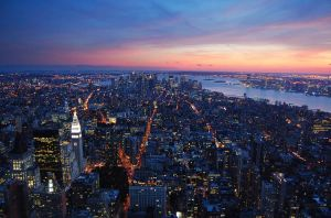 Manhattan Sunset II by allsoulsnight