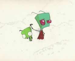 Invader Zim and Gir by BlackUmbral