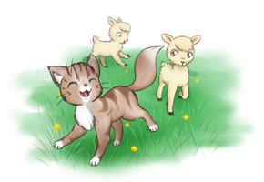 Foxypoes and the lambs by MeowNi