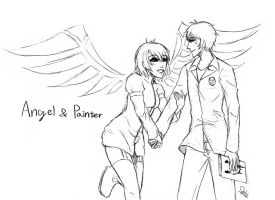 Angel with Painter-sketch by DeluCat