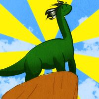 dino in epic pose by Thiefoworld