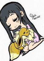 Yui and Eevee [CROSSOVER] by KleinOfAincrad
