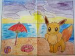 Eevee and the Beach Afternoon Sunset by Puswi