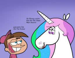 Timmy and Celestia by Cookie-Lovey
