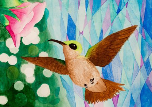 Humming Bird - Watercolor Painting by art-nattanon