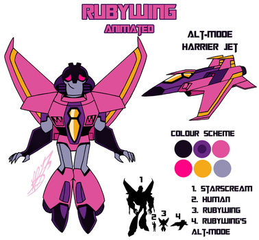 Transformers Animated: Rubywing Reference Sheet by KingRebecca