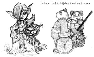 WoW: Goblin and Pandaren Sketch by I-heart-Link