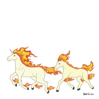 Day 28: Ponyta and Rapidash Flats by Otterpawps