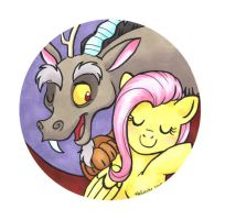 Discord and Fluttershy by HelicityPoni