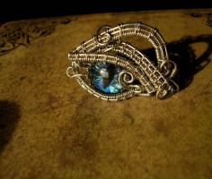 Adjustable Ring - Dragon Eye Blue Color Shift Wire by LadyPirotessa