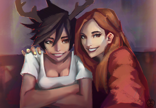 Tracer and Emily by kaerru