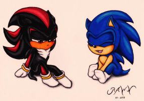 Baby Shadow and Sonic: Early Opposites by RAWN89