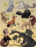 (Paypal) Open Adopts: Cats, Canines, Dragons by Dwarfdraco