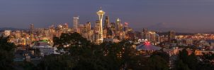 Seattle and the Mountain at Night by TomGreenPhotos