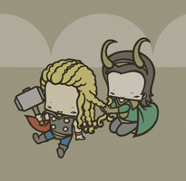 Thor and Loki by drwarumono
