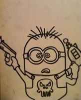 Despicable Me Punisher Minion outline by sampson1721