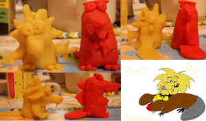 Play-Doh Beavers by Cherry-Jamster