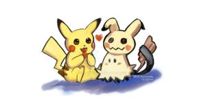 Mimikyu and Pikachu by karinvalu