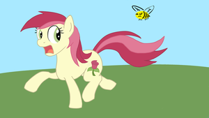 Roseluck runs from a bee by Bill-the-Pony