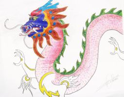 Chinese Dragon Unfinished by LilWolfStudios