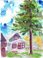 Watercolor House 1 by alex-heberling