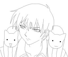 Kyo with Cats Colouring by fringeperson