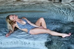 Maria - grey swimsuit in cave 2 by wildplaces