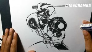 Older piece, but inked in present - Deadpool by theCHAMBA