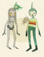 mermaid and robot by erin-harrison