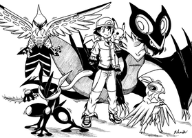 Ash XY Team 4 by Rohanite