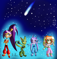 Freedom Planet Bellydancing Heroes (and Shantae) by Paragon-Yoshi